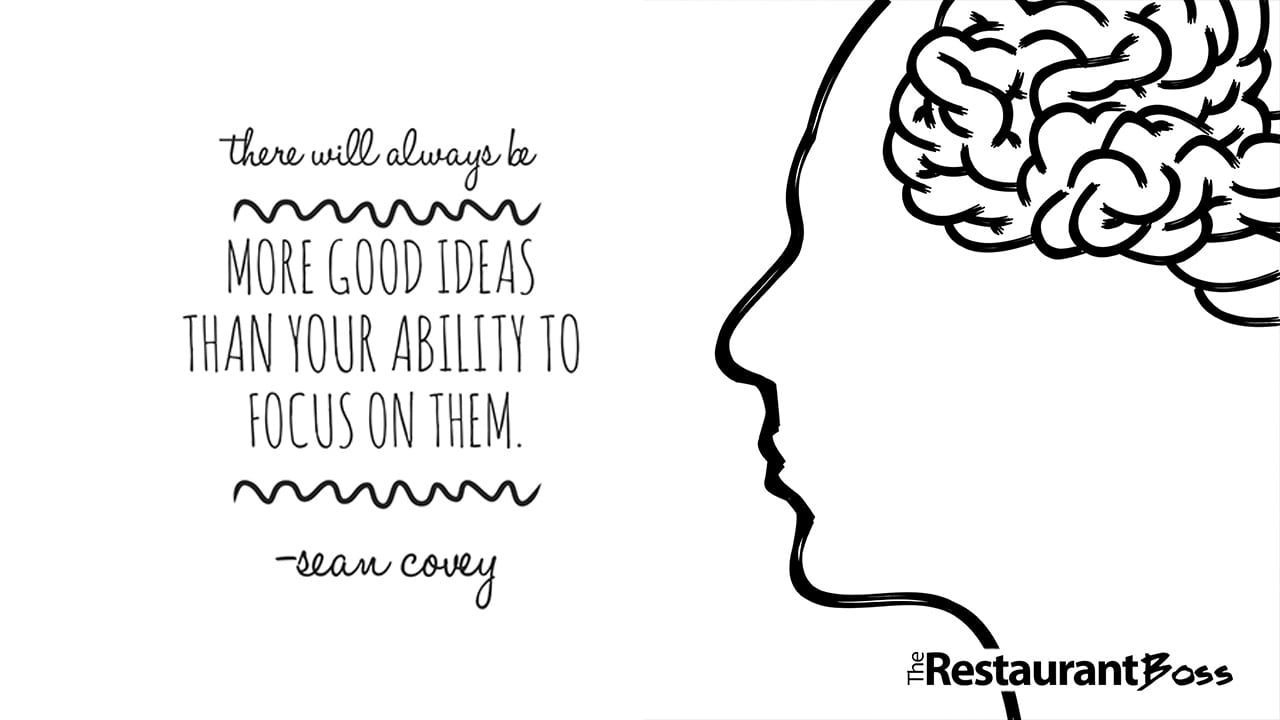 """""""There will always be more good ideas than your ability to focus on them."""" – Sean Covey"""